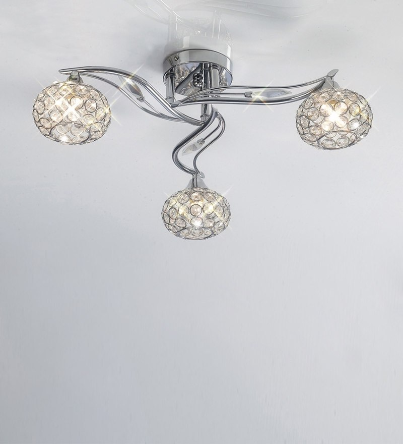 Chrome Metal and Crystal Leaf Shape Chandelier by The Light Studio