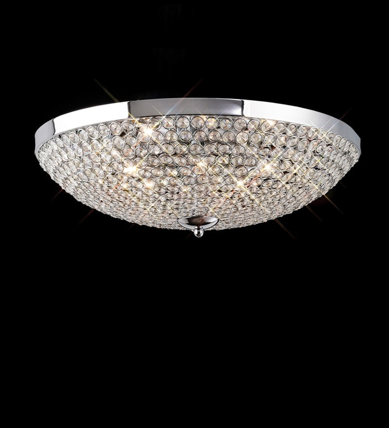 Chrome Metal and Crystal Round Shape Chandelier by The Light Studio