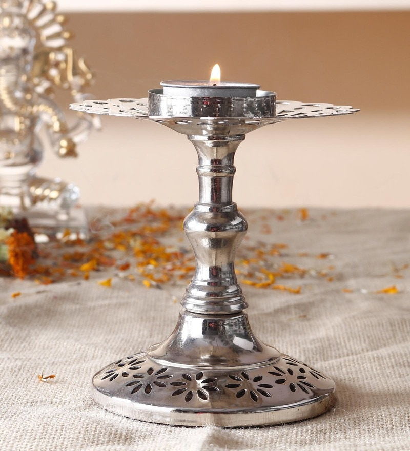 Chrome Steel Tealight Candle Holder Puja Diya Akhand Diya by Anasa