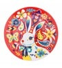 Chumbak Down The Rabbit Hole Multicolour Fine Bone China Dinner Plate