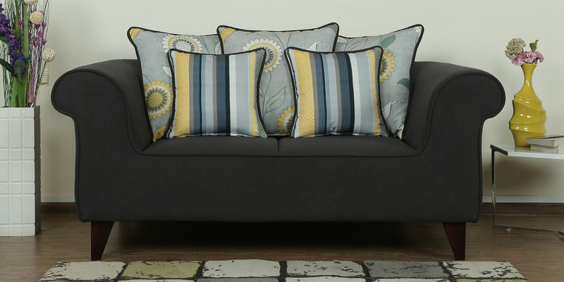 Cielo Two Seater Sofa in Charcoal Grey Colour by CasaCraft