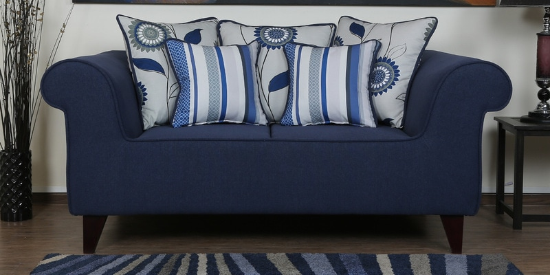 Cielo Two Seater Sofa in Navy Blue Colour by CasaCraft