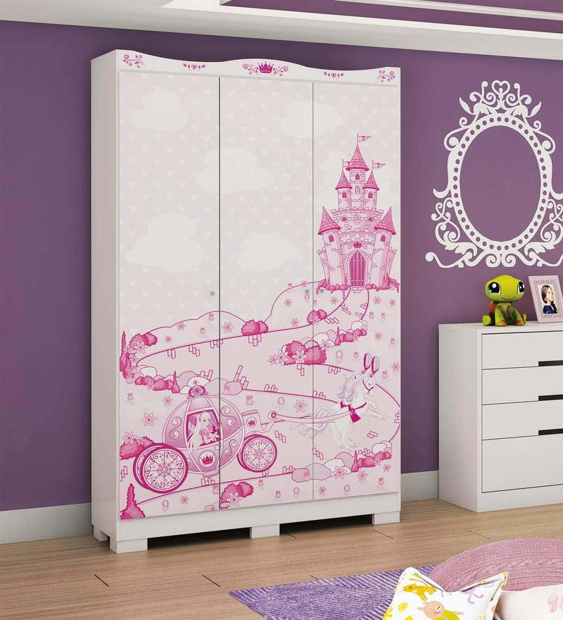 McCindy Three Door Wardrobe in Baby Pink Colour by Mollycoddle