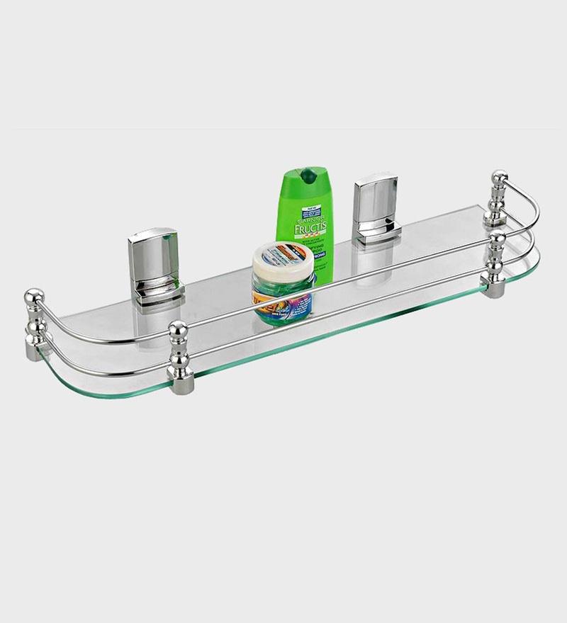 Cipla Plast Clear Glass 20 x 5.5 Inch Bathroom Glass Shelf