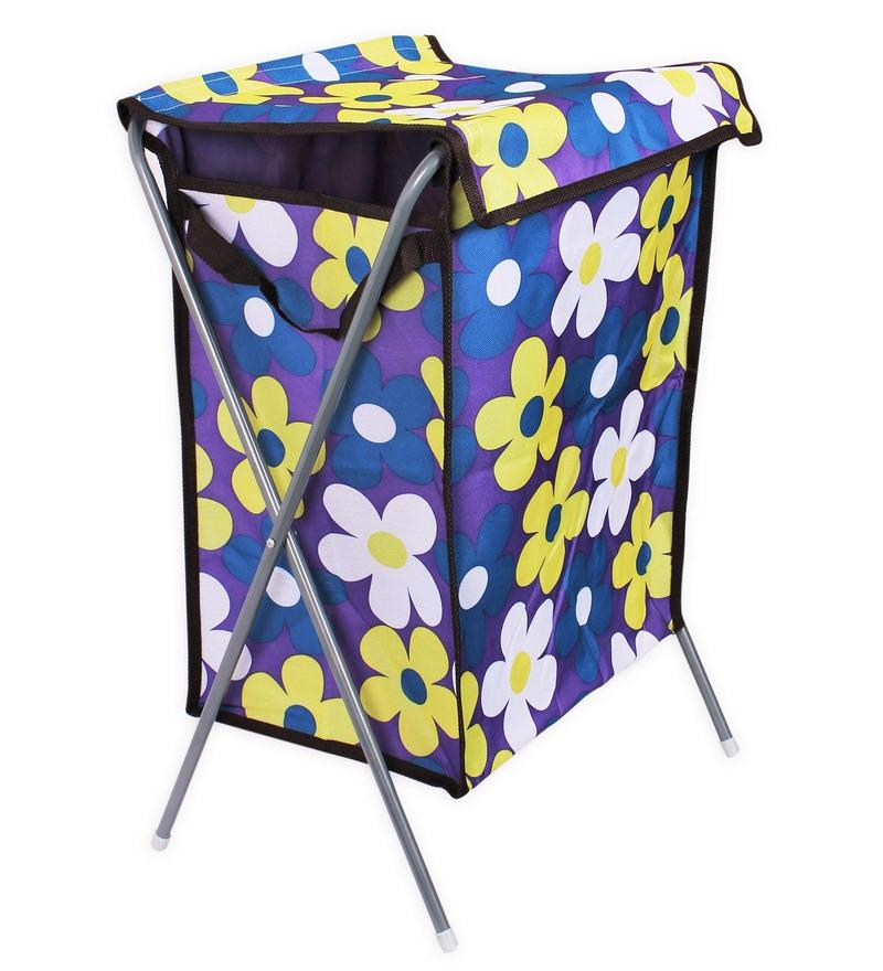 Cipla Plast Powder Coated Steel & Canvas Fabric 97.2 L Purple Laundry Basket & Bag