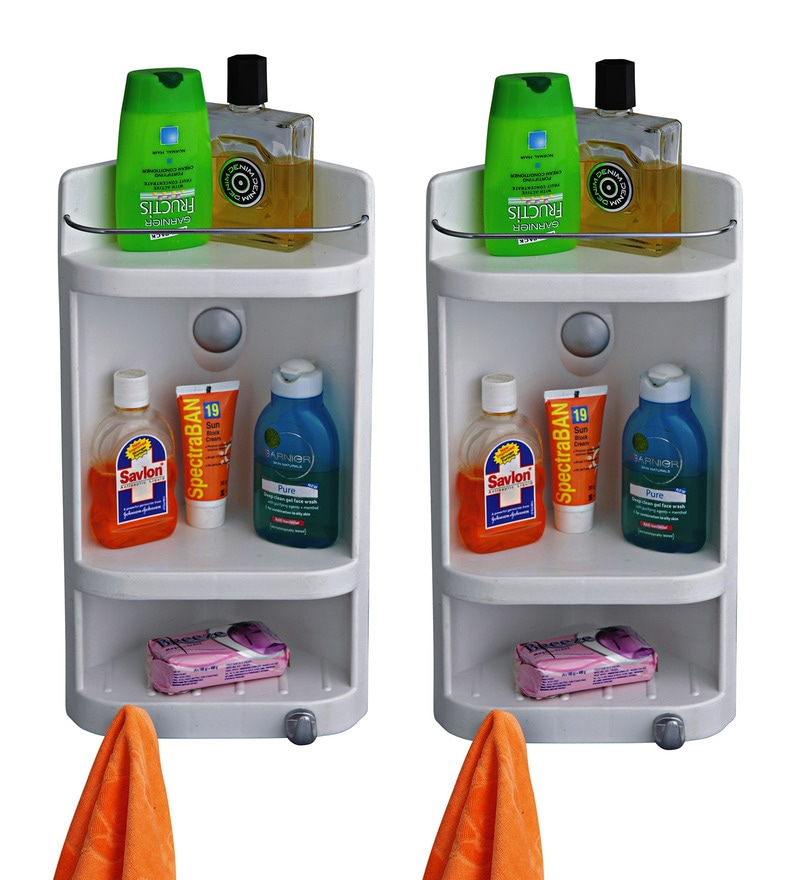 Caddy Small Corner Cabinet - White (Set of 2) by Cipla Plast