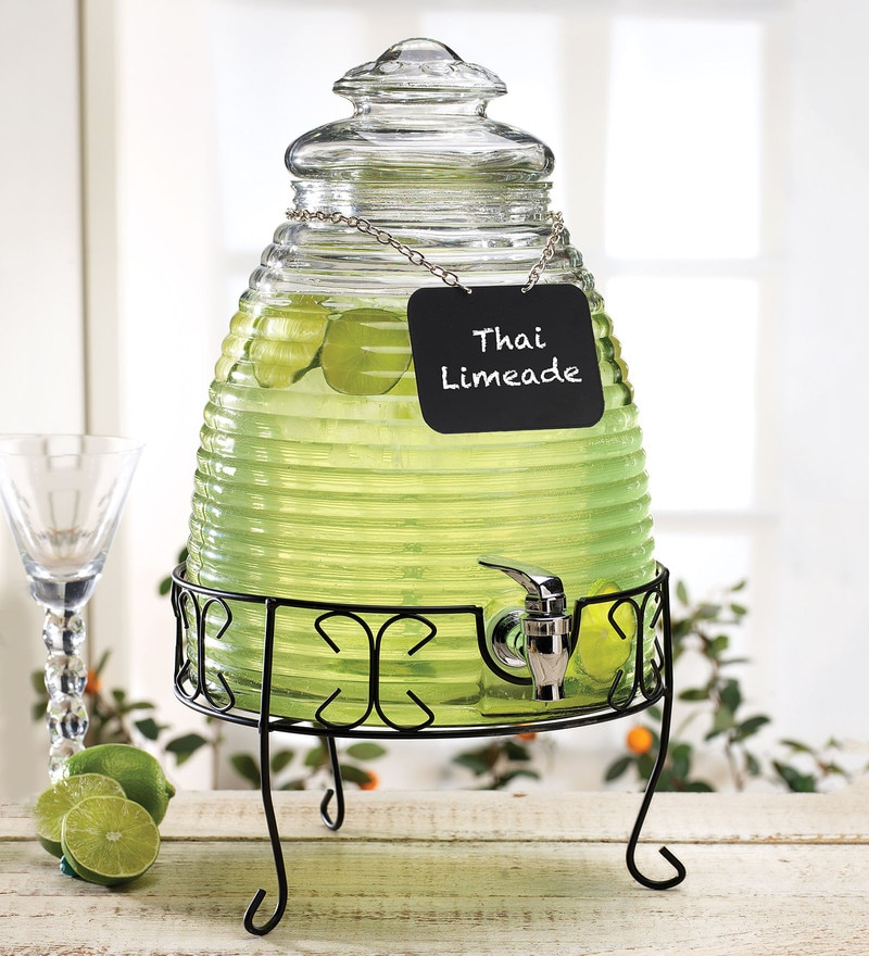 Circleware Beehive Glass 8.5 L Dispenser with Chalkboard
