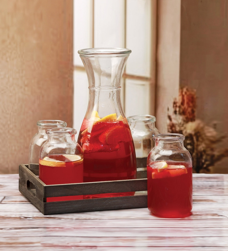 Circleware Morsela Glass Carafe & Tumbler - Set of 5