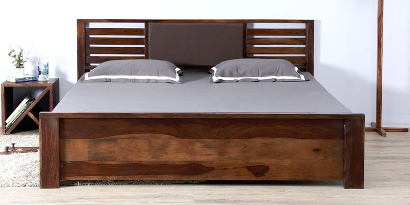 Clancy Queen Size Bed with Storage in Provincial Teak Finish by Woodsworth