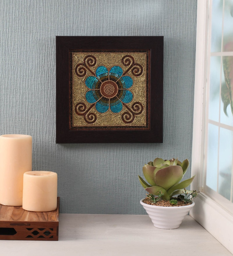 Blue Beads on Canvas Board 11 x 0.5 x 11 Inch Flower Framed Wall Art by ClasiCraft
