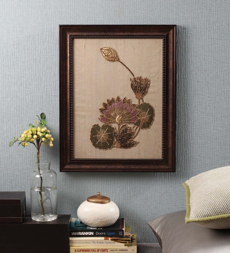 Brown Beads on Raw Silk 15.3 x 1 x 19.3 Inch Lotus Framed Wall Art by ClasiCraft
