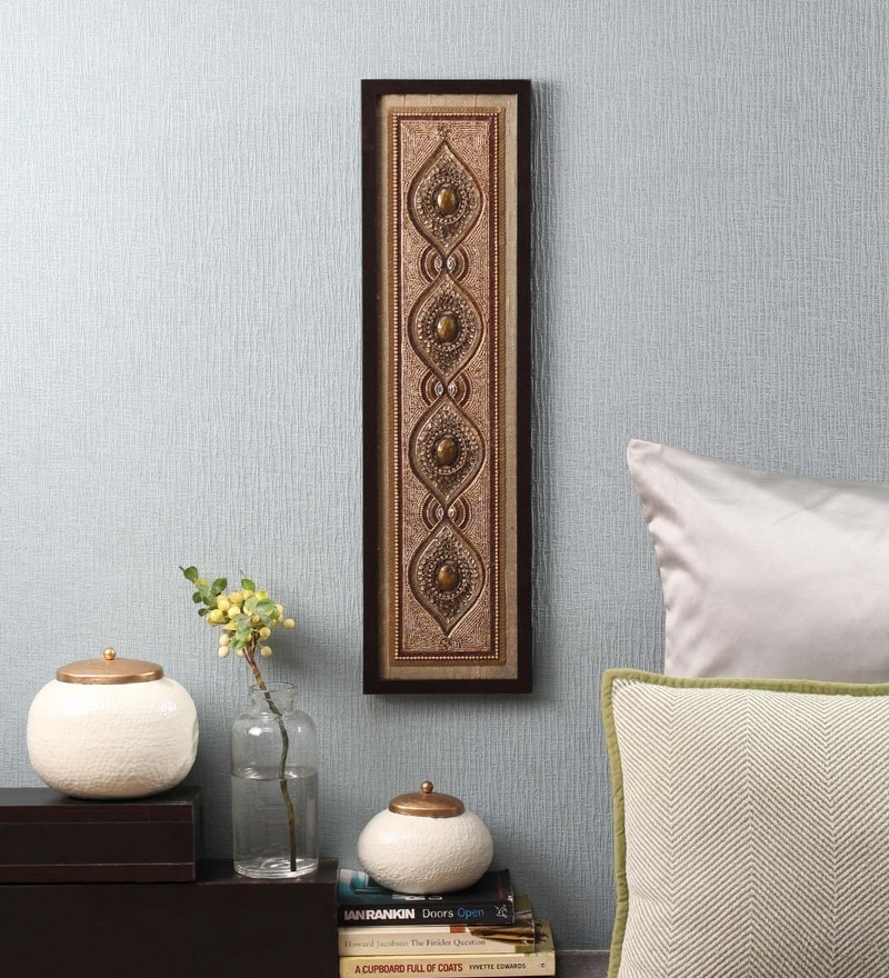 Gold Beads on Raw Silk 7.5 x 0.5 x 25.5 Inch Framed Panel Wall Art by ClasiCraft