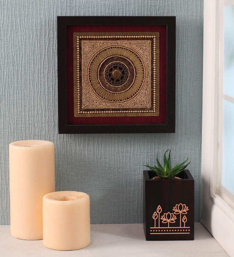Maroon Beads on Raw Silk 11 x 0.5 x 11 Inch Exquisite Framed Wall Art by ClasiCraft
