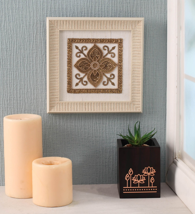 White Beads on Raw Silk 7.8 x 0.8 x 7.8 Inch Modern Paisley Framed Wall Art by ClasiCraft