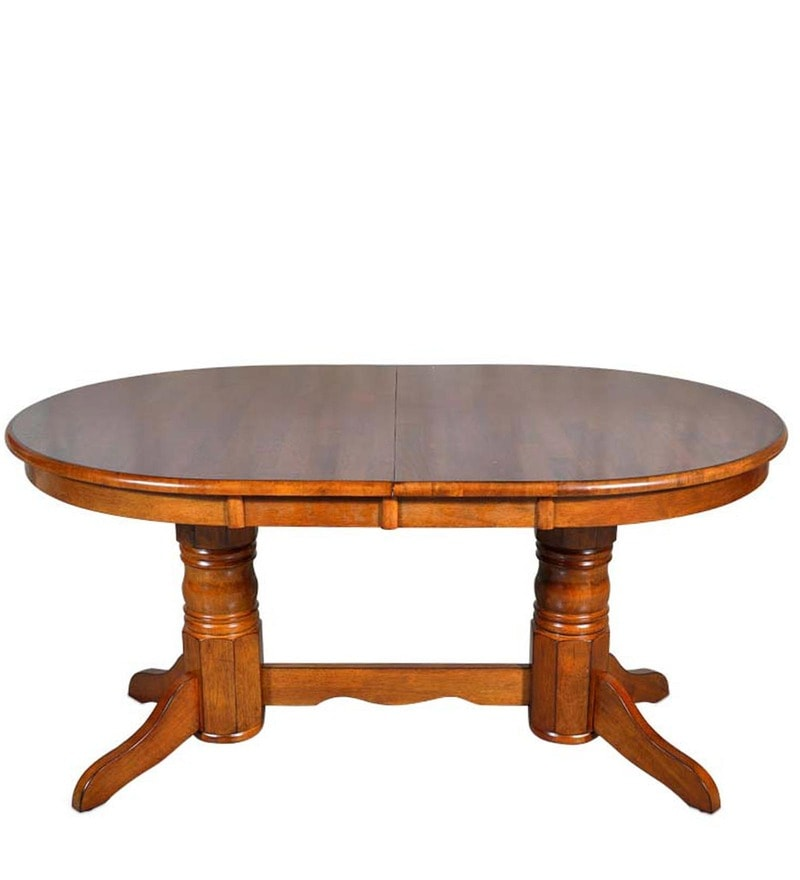 Buy Classic Six Seater Dining Set With Oval Shaped Table In Brown
