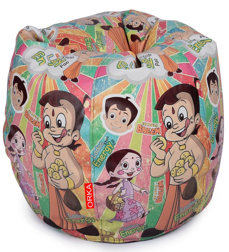 Chota Bheem Kids Bean Bag Cover in White Colour by Orka