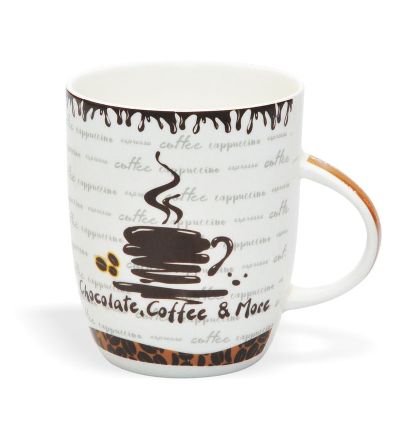 Clay Craft Cafe Mocha Bone China 295 ML Coffee Mug - Set of 2