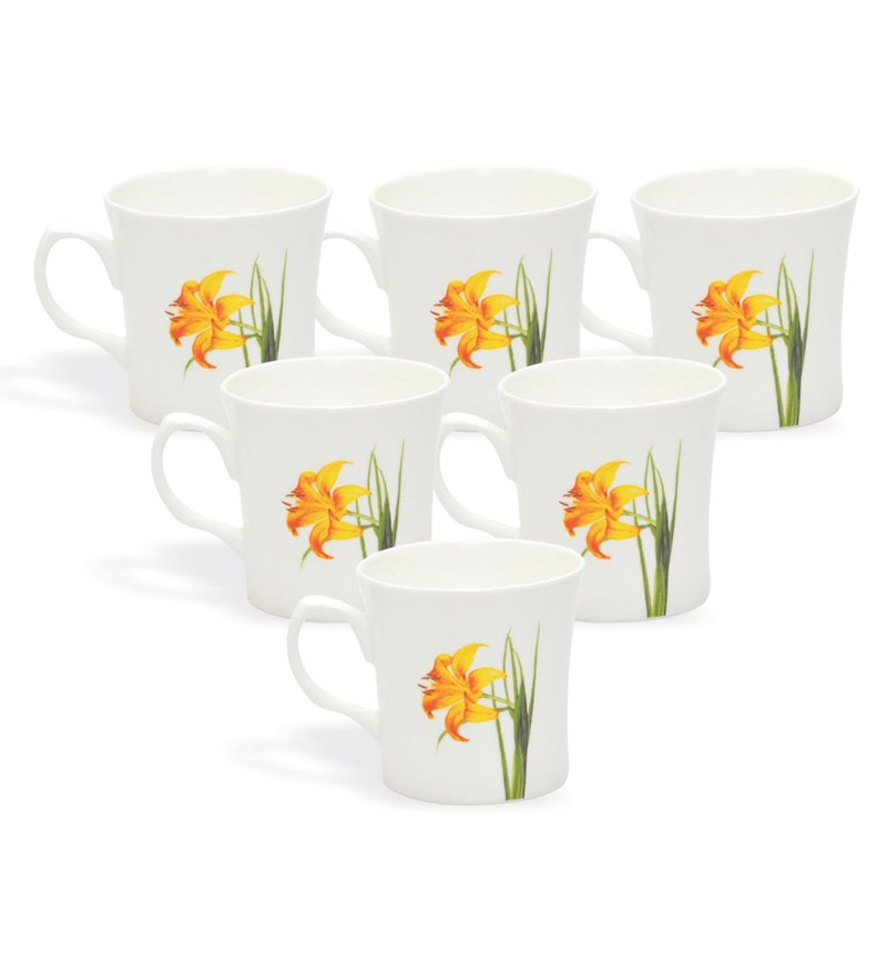 Clay Craft Chiers Orange Bone China 220 Ml Tea Cups Set Of 6