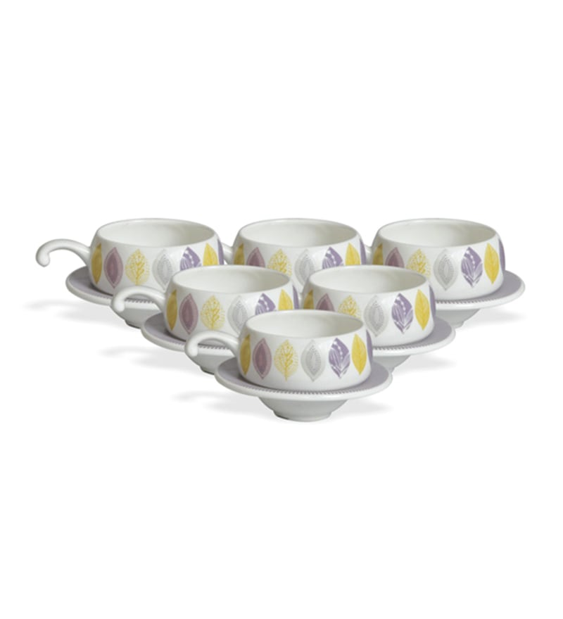 Clay Craft Loreto Bone China 195 ML Cup & Saucer - Set of 6