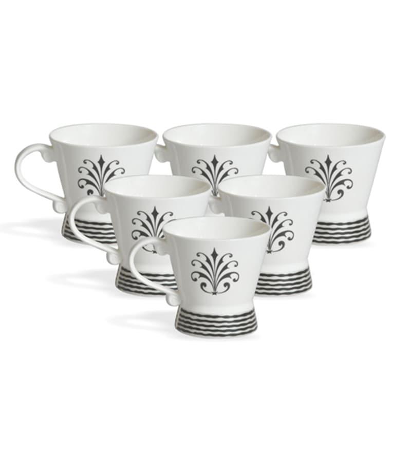 Clay Craft Navona Bone China 220 ML Tea Cups - Set of 6