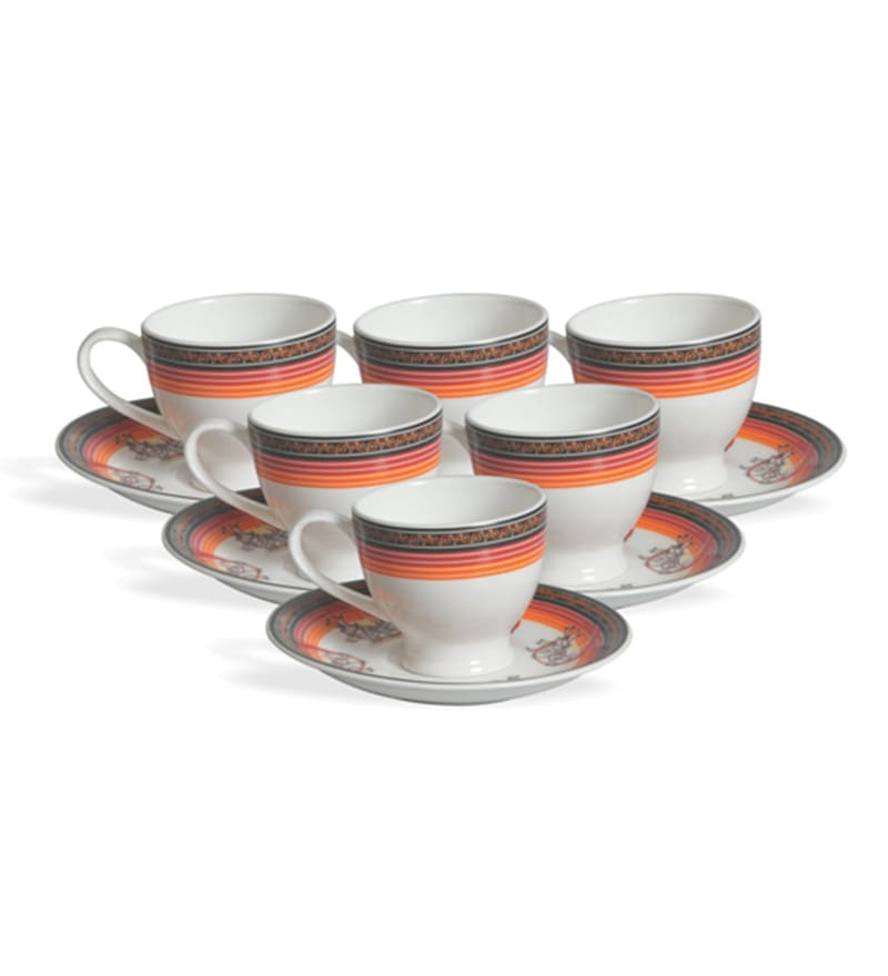 Clay Craft Radicans Bone China 220 ML Cup & Saucer - Set of 6