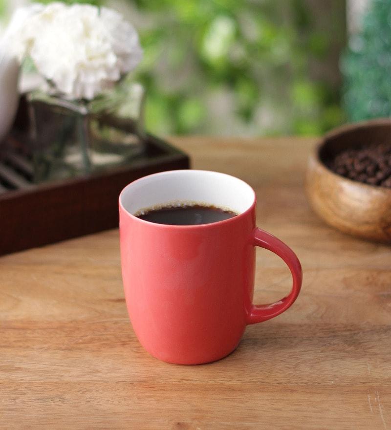 Clay Craft Red Bone China 350 ML Coffee Mug - Set of 6