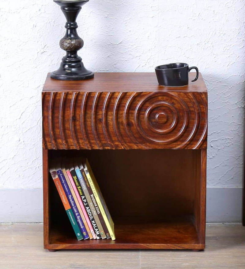 Espiral Bed Side Table in Provincial Teak  Finish by Woodsworth