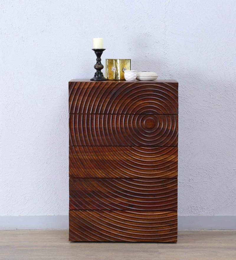 Espiral Chest of Drawer in Provincial Teak  Finish by Woodsworth.