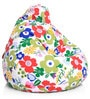 Floral Design XL Bean Bag with Beans in Multicolour by Style HomeZ