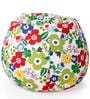 Classic Cotton Canvas Floral Design Bean Bag XXL Size with Beans by Style Homez