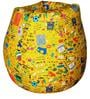 Classic XXL Bean Bag with Beans in Yellow Youth Print by Sattva
