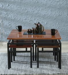 Trestle Solid Wood Coffee Table Set With Lift-Top & Four Stools In Ginger Bronze Finish