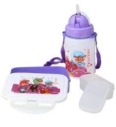 Combo Set Of Lunch Box And Water Bottle In Purple Colour