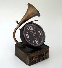 Copper Metal & Glass 5.5 X 5.5 X 12 Inch Vintage Desk Clock