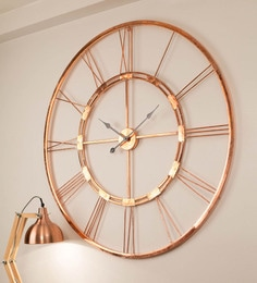 Copper Finish Metal 40 Inch Wall Clock