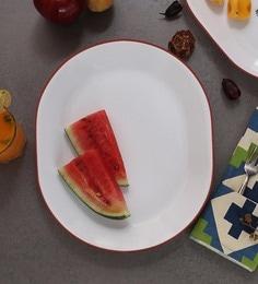 Corelle Livingware Crimson Trellis Oval Serving Tray - Set Of 2