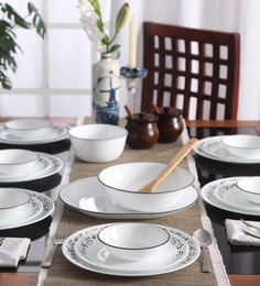 Corelle Livingware Garden Getaway Vitrelle Glass Dinner Set - Set of 21 at pepperfry