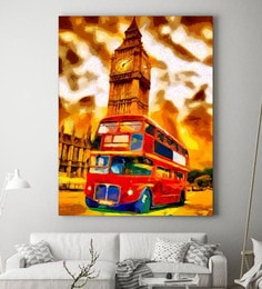 Cotton Canvas 48 X 1.5 X 72 Inch Abstract Double Decker Bus Framed Digital Art Print