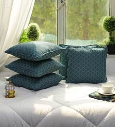 Cotton Self Dobby Design Green Color Set Of 5 Cushion Cover - 1705034