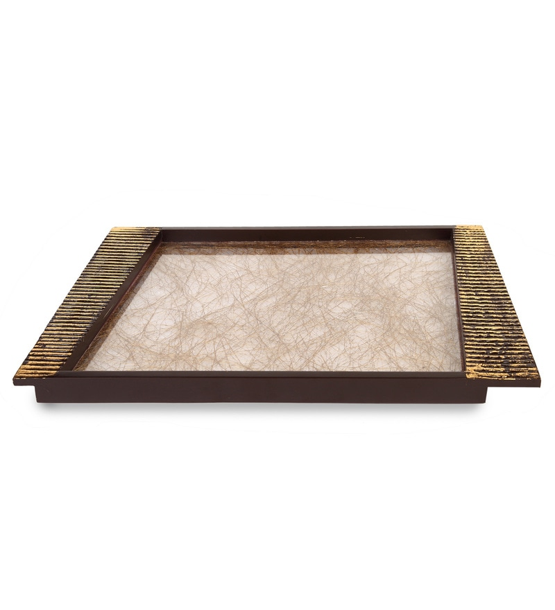 Cocktail Golden Wooden Large Serving Tray