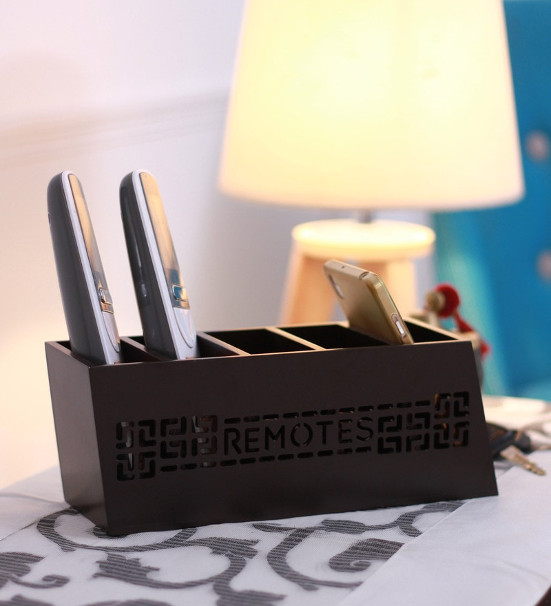Cocktail Wooden Brown Slant Gadget Organiser