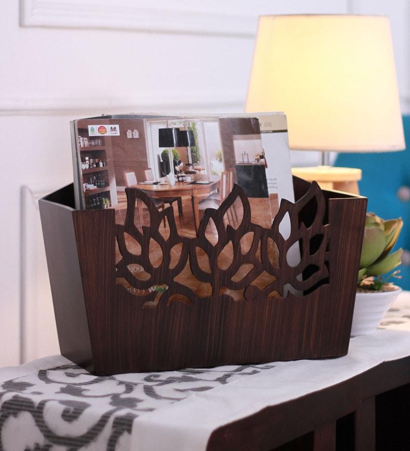 Cocktail Wooden Brown Vie Magazine Rack