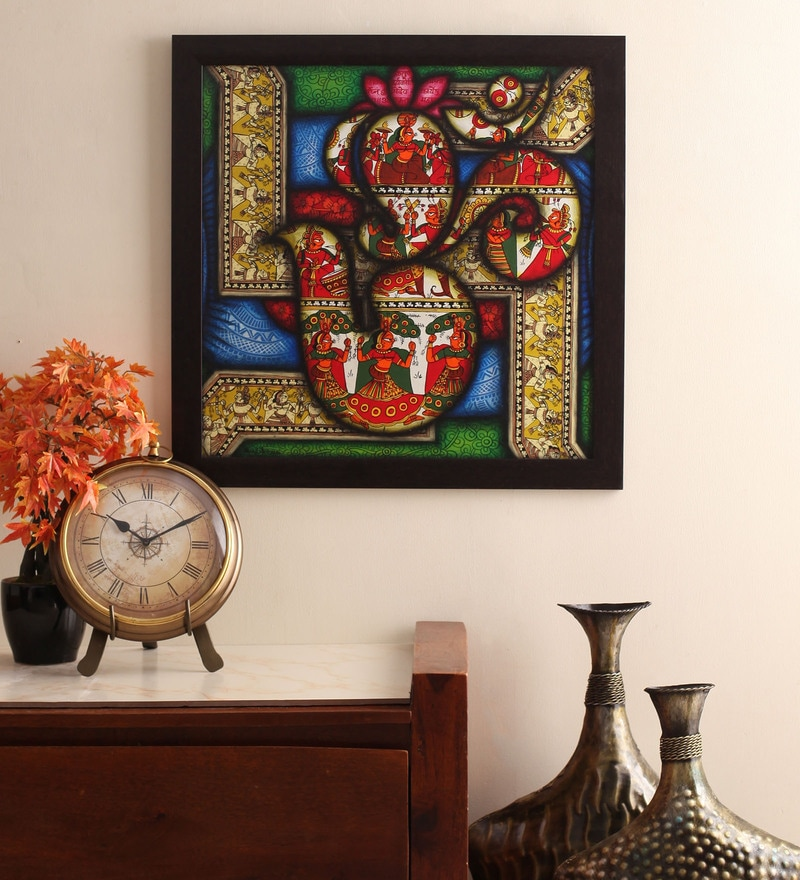 Cocovey Canvas 24 x 2 x 24 Inch Om Shree Handmade Framed Rajasthani Style Phad Painting