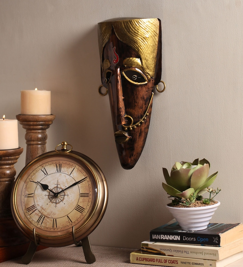 Multicolour Metal Decorative Wall Mask by Cocovey