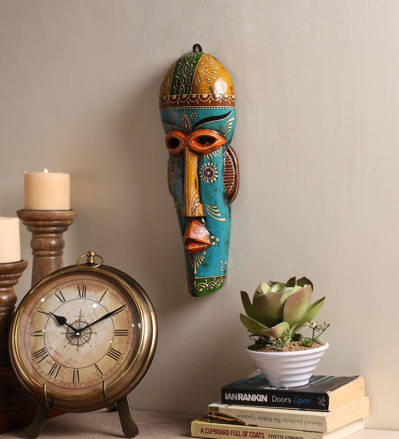 Multicolour Wooden Decorative Wall Mask by Cocovey