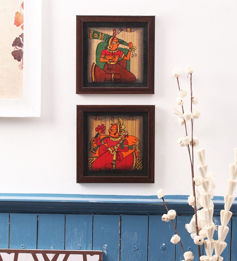 Wooden 6 x 6 Inch Traditional Handmade Framed Wall Painting Set - Set of 2 by Cocovey