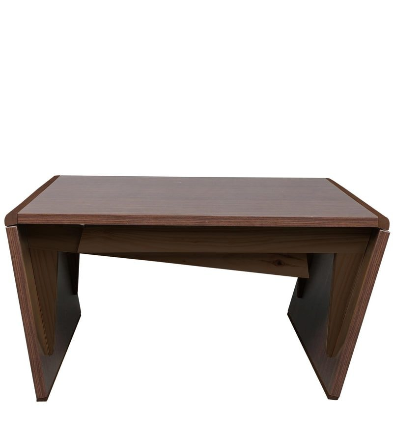 Buy coffee table cum six seater dining table in brown finish by arancia mobel online rectangle Coffee tables online