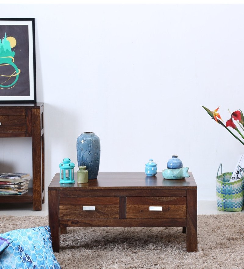 Oriel Two Drawer Coffee Table in Provincial Teak Finish by Woodsworth