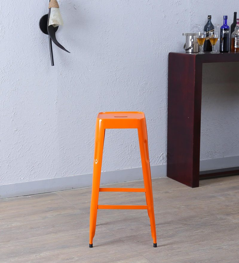 Cohen Metal Bar Stool in Orange Colour by Bohemiana