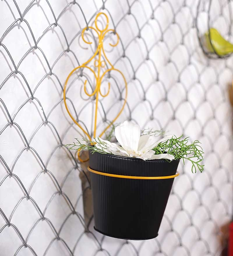 Black and Yellow Wall Hanging Planter by Color Palette